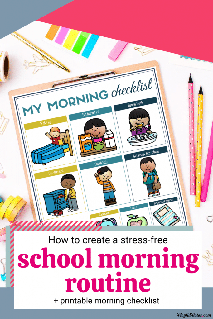 Are you looking for the best school morning routine for kids? Check out these 5 easy tips that will help you enjoy stress-free mornings and download a printable school morning routine checklist to use with your kids!