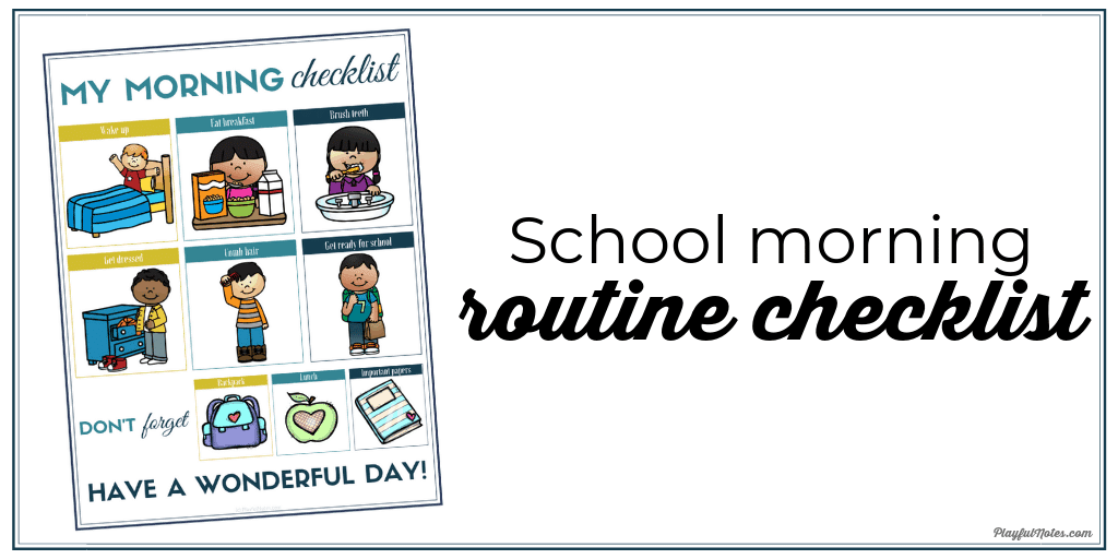school morning routine checklist printable
