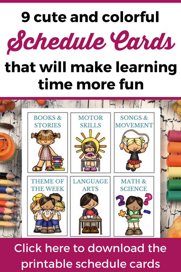 Visual schedule cards for home preschool: If you want to make teaching your kids at home more fun, these printable schedule cards are great for little learners! | Preschool schedule cards | Schedule cards for kids #ActivitiesForKids #HomePreschool
