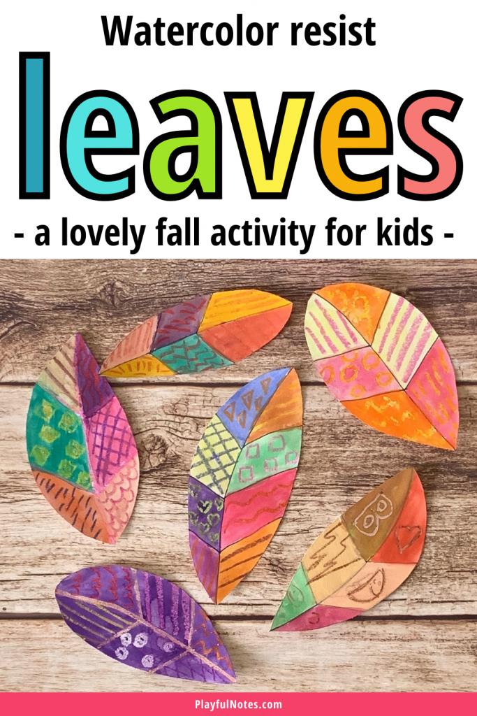 Creating watercolor resist leaves is an easy and lovely fall activity for kids. It works great for many ages and you can quickly try it with your kids.